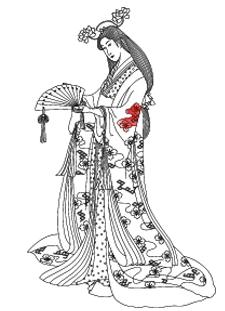 secondo Grafik Kostümbildner Geisha mit Fächer